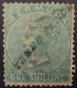 Bermuda 1874, 3d. schd on 1s. Green (SG 14) used