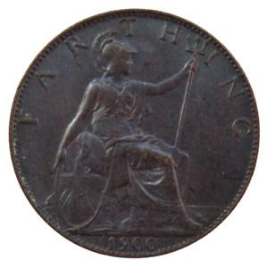 1900 Queen Victoria Farthing Coin In High Grade - Dark Finish