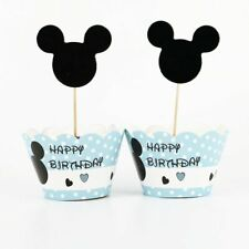 Minnie Mickey Mouse Cupcake Cup Cake Decorating Toppers Wrappers Gift 12+12