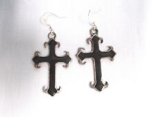 VINTAGE CAST PEWTER CROSS w BLACK INLAY PEWTER MEDIEVAL PENDANT SIZE EARRINGS