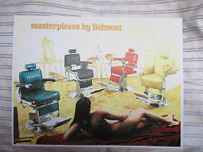 1950's Vintage 4 Barbershop Belmont Chairs Photo Brochure Sign Ad w Nude Model