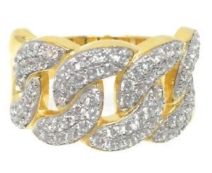 Ladies Men New 10k Yellow Gold Tone Sterling Silver Cuban Link Ring Wedding Band
