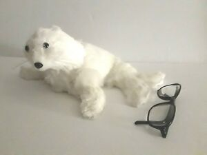 """Blooming Holiday Winter White Seal Christmas Decor NWT Faux Fur Straw Rustic 13"""""""