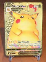 ☆☆☆ DEUTSCH Pikachu VMAX Metall Gold Pokemon Karte ☆☆☆