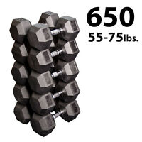 55 - 75 lb. Rubber Coated Dumbbell Pairs, 10 Total - Body-Solid