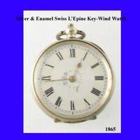 Pretty Victorian Silver & Enamel Swiss LEpine KW Fob Pocket Watch 1860