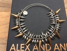 VERY RARE ALEX and ANI BEADED GOLD SPIKE SILVER DROP Bangle BRACELET