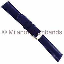 19mm deBeer Blue Purple Genuine Glove Leather Padded Stitched Mens Watch Band