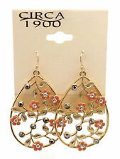 "CIRCA 1900 JEWELRY Goldtone Crystal Studded Pear Shaped Dangle Earrings 2"""