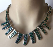 Vintage Mexico Sterling Silver 925 TM 275 Necklace Malachite Inlaid 86 Grams
