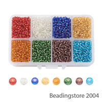 4200pcs/Box Mixed Glass Seed Beads Kits 8/0 Loose Spacers Tiny Beading Craft 3mm
