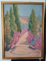 grande Peinture paysage provence  signée Michèle Bourgeois.painting signed
