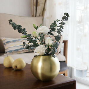 Stainless Steel Gold Bowl Vase Plant Pot Exquisite Gifts Round Home Decor