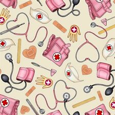 What The Doctor Ordered Nurse Supplies Nursing Ecru Cotton Fabric Fat Quarter