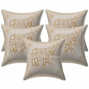 Ethnic Sofa Scatter Cushion Covers 16 x 16 Gold Embroidered Cotton Elephant 5 Pc