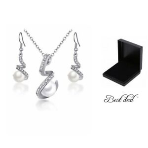 Pendant Necklace Set With Box Pearl Earring Silver Fashion Ladies Women Gift UK