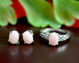 Natural Pink Opal Gemstone 925 Sterling Silver Wedding Jewelry Ring Earring Set