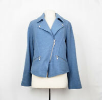 Chico's 2 Jacket Moto Blue Boiled Wool Misses L