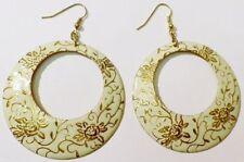 boucles d'oreilles percées bijou rétro anneaux émail beige couleur or * 4860