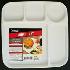 """Microwave Lunch Tray TV Dinner Tray White Plastic 5 Compartments 9.8""""x9.8"""""""
