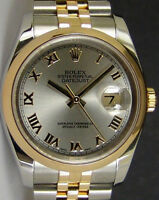 ROLEX - Mens 36mm 18kt Gold & SS DateJust Grey Roman 116203 SANT BLANC