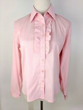 Women's Pink White Stripe Long Sleeves Polo Shirt Button Collar Ruffle Small
