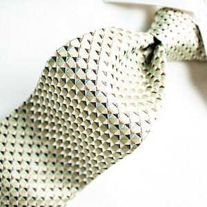 BANANA REPUBLIC  Green Lime with Brown and Silver White Geometric Tie