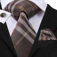 USA Classic Brown Striped Plaids&Checks Mens Tie Necktie Set Silk Woven Business