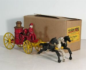 1930s CAST IRON HORSE DRAWN FIRE ENGINE PUMPER BY KENTON WITH ORIGINAL BOX