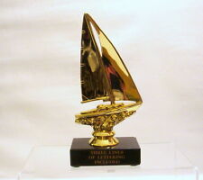 SAILBOAT  TROPHY ,  SAILING TROPHY,  BOAT  , SAILBOAT TROPHY BLACK MARBLE