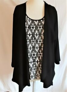 Alfred Dunner Top 2X Layered Look Jacket Blouse