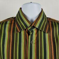 Ted Baker London Mens Green Brown Striped L/S Dress Button Shirt Sz 5/XL
