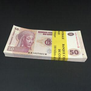 CONGO D.R. 50 Francs X 100 PCS 2013 P-97 Bundle UNC Uncirculated