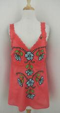 JOYSTICK floral Embroidered cami top L eyelet trim sleeveless tank