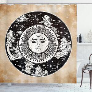Tribal Shower Curtain Ethnic Sun Face Moon Print for Bathroom
