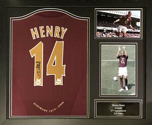 FRAMED THIERRY HENRY SIGNED ORIGINAL ARSENAL 2005/06 FOOTBALL SHIRT PROOF + COA