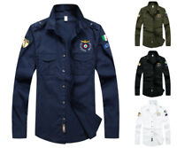 Mens Long Sleeve MA1 Slim Fit Shirts Army Pilot Fly Military Harrington Bomber