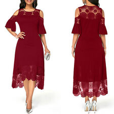Womens Lace Midi Dress Evening Cocktail Formal Party Dresses Ladies New 2020_ws