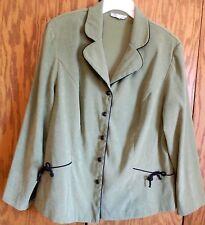 Dress Barn Women's Green Jacket size 20W, Black Bow Trim, Dressy, Fancy
