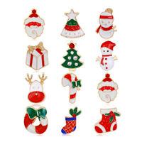 12 Pcs/Set Santa Claus Tree Cane Snowman Elk Enamel Brooch Pin Christmas Gifts