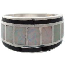 Anello Con Opale Bianco schiacciato resina & Nero Smalto 925 Argento da ARI D Norman