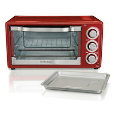 Metallic Red 6 Slice Convection Broiler Oven Toaster W  Bake Pan & Broil