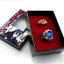 Black butler Kuroshitsuji Alois Trancy Ciel Phantomhive 2 Ring Set & Box Cosplay
