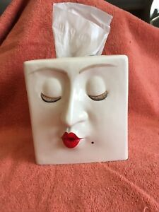 Vintage Fitz&Floyd ceramic woman face red lips beauty Tissue Box/RARE