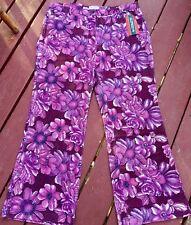 Funky Retro 1970s Vintage Style Disco Floral Corduroy Pants Purple Size M BNWT