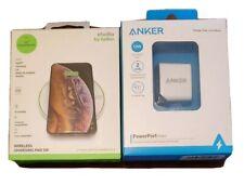 Belkin Studio 5W Wireless Qi Charging Pad, Anker 12w 2 Port Wall Adapter Charger