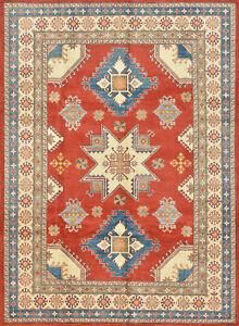 Geometric Kazak 8' x11' Red Wool Hand-Knotted Oriental Rug