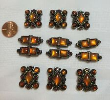 Vintage Amber and Brass colored (Beads?) Jewelry Making pieces/2.6 oz/12 pcs/ #3