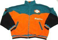 Pro Elite Mens Miami Dolphins Fleece Jacket Coat XL Color Block Full Zip NFL