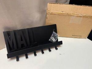 Black Metal Key & Mail Wall Mountable Holder